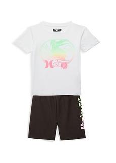 Hurley Little Boy's 2-Piece Toucan-Print Rashguard & Swim Trunks Set
