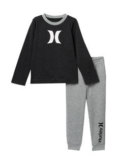 Hurley Long Sleeve Icon T-Shirt & Jogger Set (Little Boys)