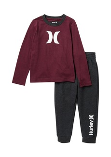 Hurley Long Sleeve Icon T-Shirt & Jogger Set (Toddler Boys)