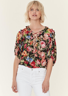 Icons Ruffle Lace Up Blouse - S - Also in: M
