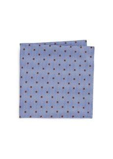 Ike Behar Blue Dot Pocket Square