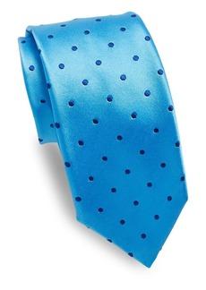 Ike Behar Blue Dots Silk Tie
