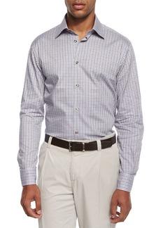 Ike Behar Chambray Check Sport Shirt