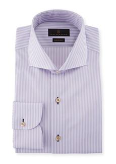 Ike Behar Fredrick Striped Cotton Barrel-Cuff Dress Shirt