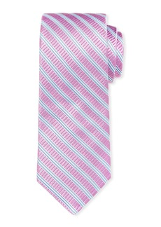 Ike Behar Gingham Silk Tie w/ Stripes