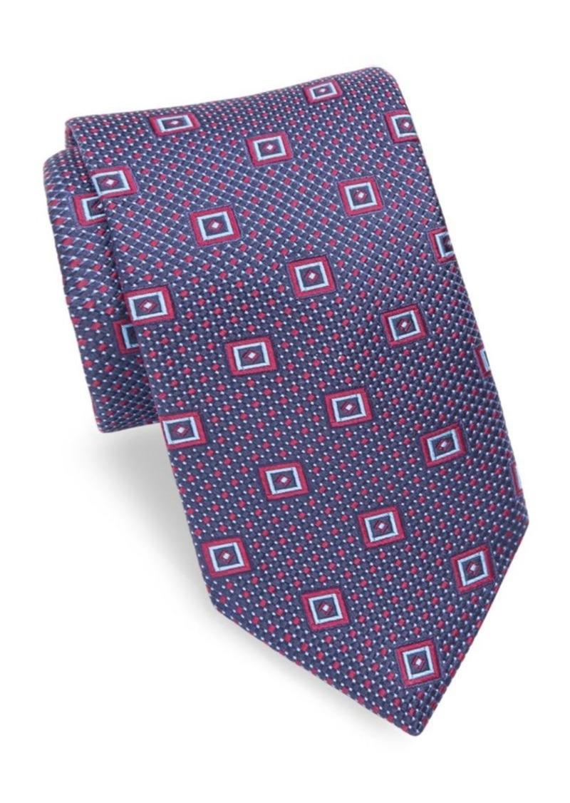 Ike Behar Geometric Patterned Silk Tie