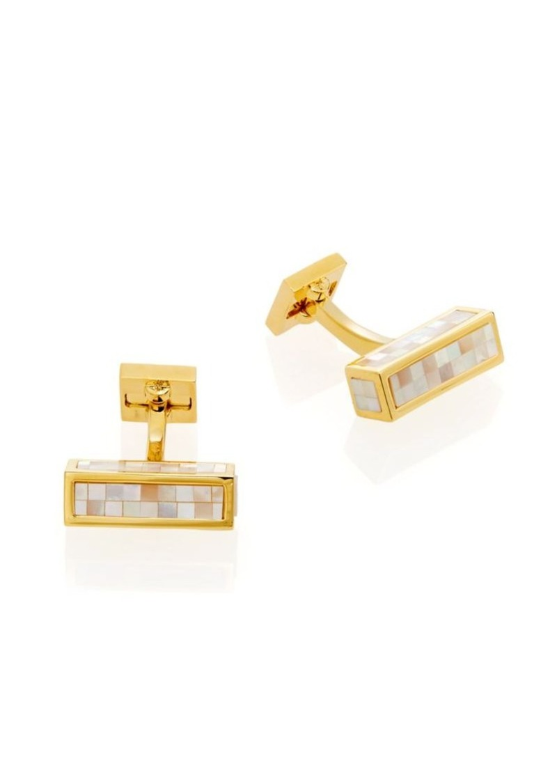 Ike Behar Goldplated Brass & Mother-Of-Pearl Mosaic Cuff Links