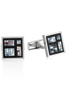 Ike Behar Men's Square Mosaic Mother Of Pearl Cufflinks