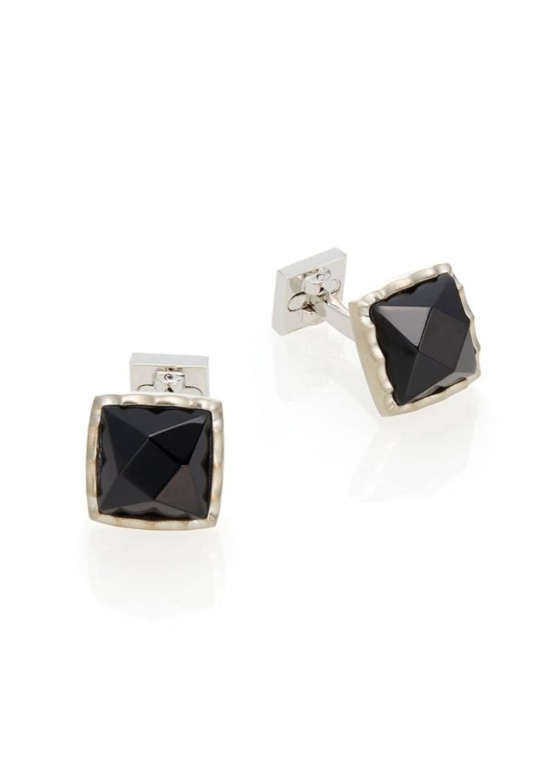 Ike Behar Rhodium-Plated Brass Cuff Links