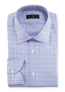 Ike Behar Textured Plaid Cotton Dress Shirt