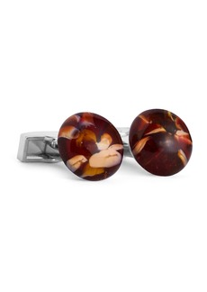 Ike Behar Marbled Round Glass Cufflinks  Burgundy/Tan