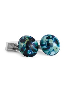 Ike Behar Marbled Round Glass Cufflinks  Teal/Black