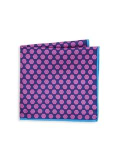 Ike Behar Navy & Pink Medallion Print Pocket Square