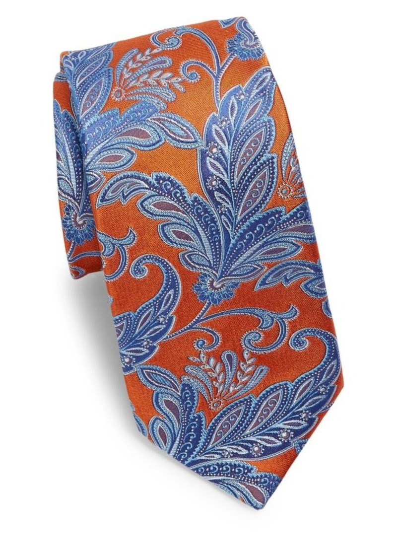 Ike Behar Orange Paisley Silk Tie
