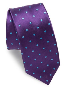Ike Behar Purple Dots Silk Tie