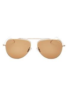 Illesteva Unisex Brow Bar Aviator Sunglasses, 60mm