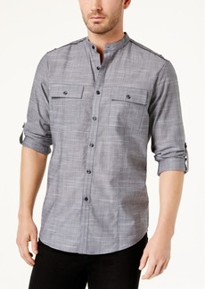 INC I.n.c. Men's Chambray Band-Collar Shirt, Created for Macy's