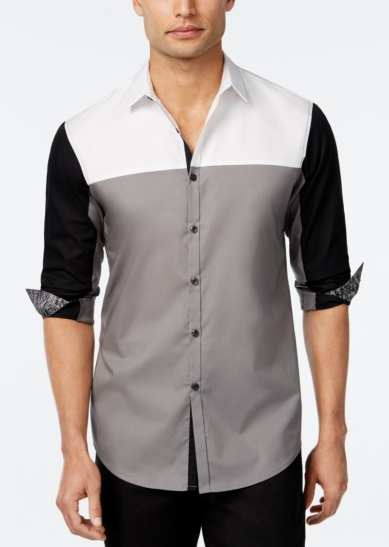 Inc International Concepts Men's Colorblocked Long-Sleeve Shirt, Only at Macy's