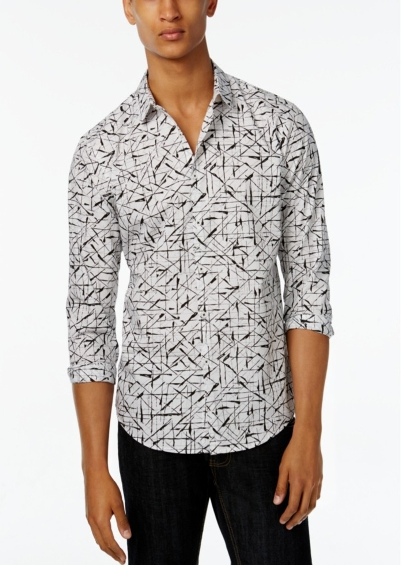 Inc International Concepts Men's Crosshatch Poplin Long-Sleeve Shirt, Only at Macy's