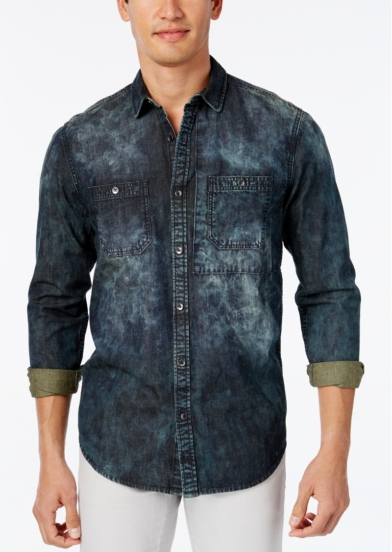 Inc International Concepts Men's Dino Denim Long-Sleeve Shirt, Only at Macy's