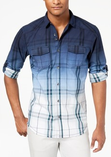 INC I.n.c. Men's Dip-Dyed Plaid Shirt, Created for Macy's