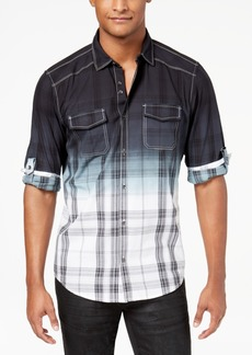 INC I.n.c. Men's Dip-Dyed Plaid Shirt, Created for Macy's