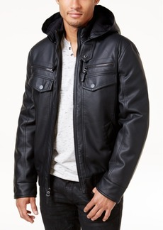 INC I.n.c. Men's Faux Leather Hooded Bomber Jacket, Created for Macy's