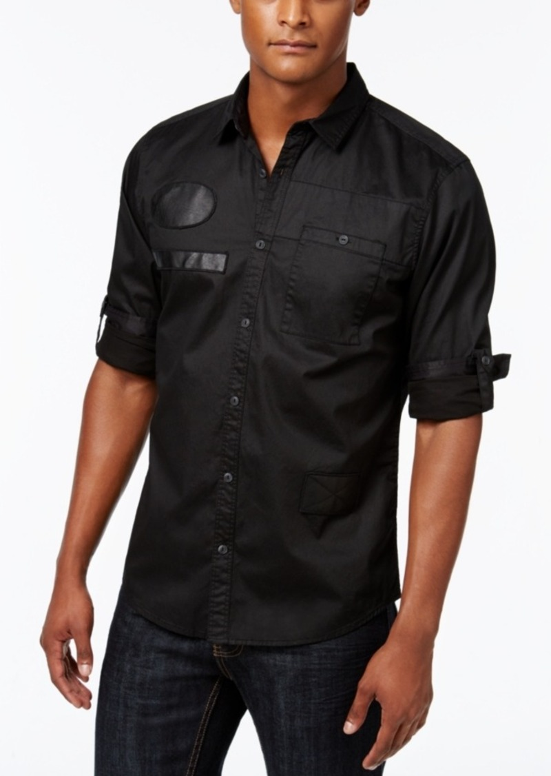 Inc International Concepts Men's Faux Leather Trim Long-Sleeve Shirt, Only at Macy's