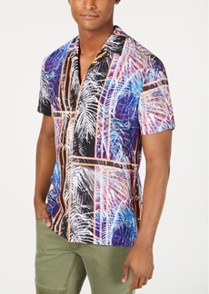 Inc International Concepts Men's Julius Colorblock Palm Print Short Sleeve Shirt