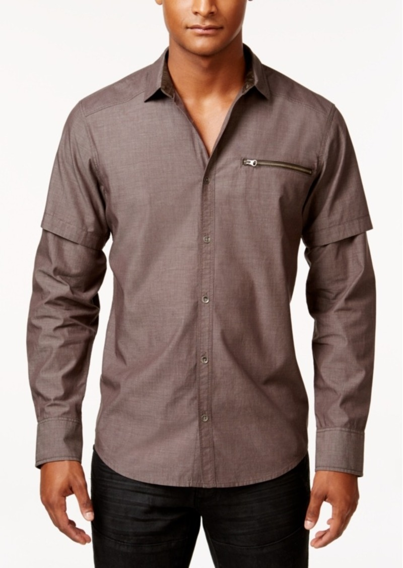 Inc International Concepts Men's Layered-Sleeve Zip-Pocket Shirt, Only at Macy's