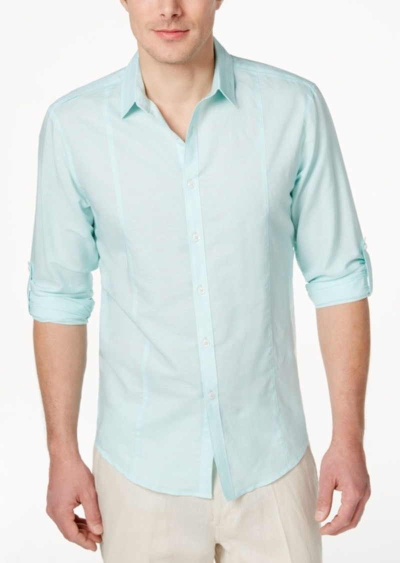 Inc International Concepts Men's Long Sleeve Cason Linen Shirt, Only at Macy's