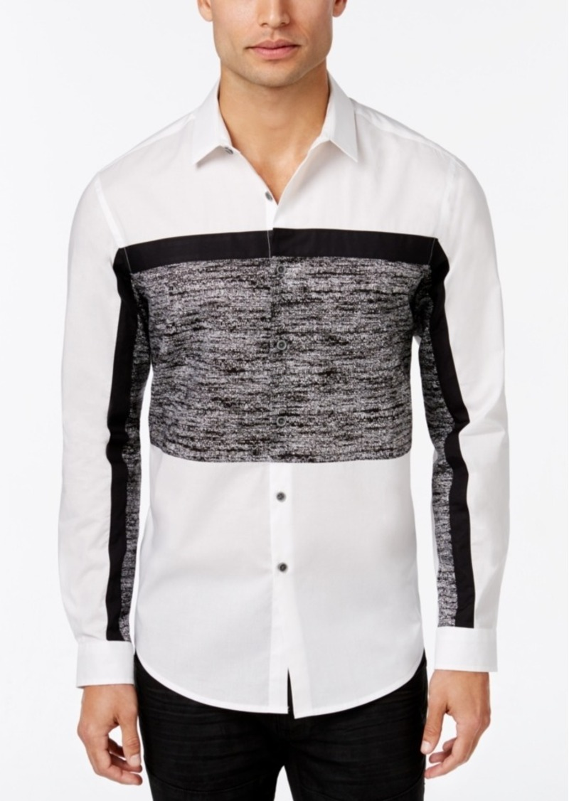 Inc International Concepts Men's Nyos Pieced Colorblocked Long-Sleeve Shirt, Only at Macy's