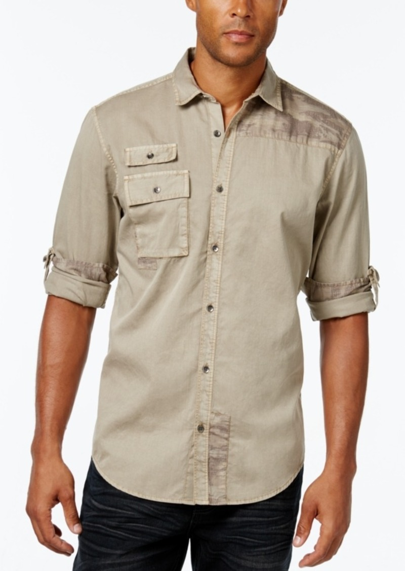 Inc International Concepts Men's Polonius Camo and Solid Long-Sleeve Shirt, Only at Macy's
