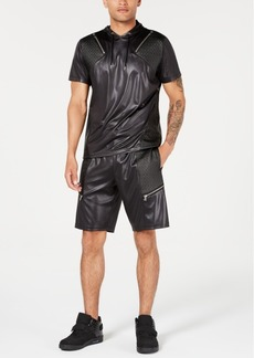 Inc International Concepts Men's Scotty Faux Leather Short Sleeve Hoodie, Created for Macy's