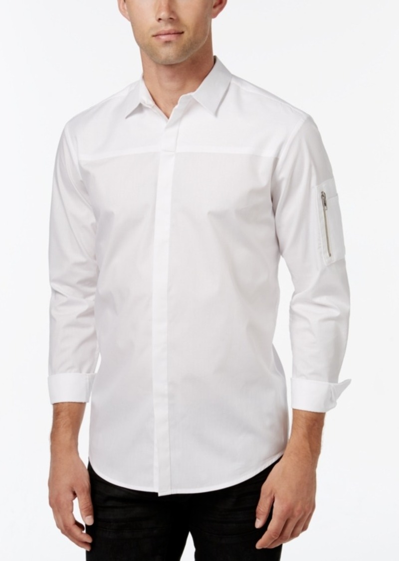 Inc International Concepts Men's Textureblocked Long-Sleeve Shirt, Only at Macy's