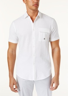 INC I.n.c. Men's Stretch Seersucker Short Sleeve Utility Shirt, Created for Macy's