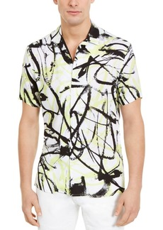 Inc Men's Abstract Scribble Printed Short Sleeve Shirt, Created for Macy's