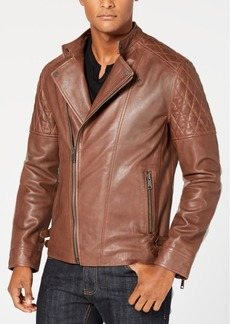 INC I.n.c. Men's Asymmetrical Full-Zip Leather Jacket, Created for Macy's