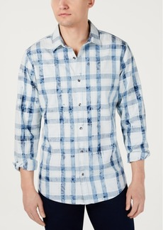 INC I.n.c. Men's Bleached Plaid Shirt, Created for Macy's