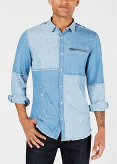INC I.n.c. Men's Colorblocked Denim Shirt, Created for Macy's