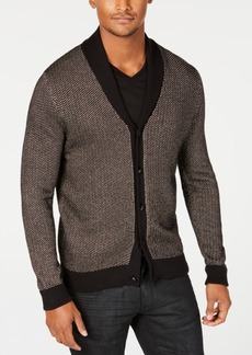 INC I.n.c. Men's Colorblocked Metallic Cardigan with Skull Shaped Buttons, Created for Macy's