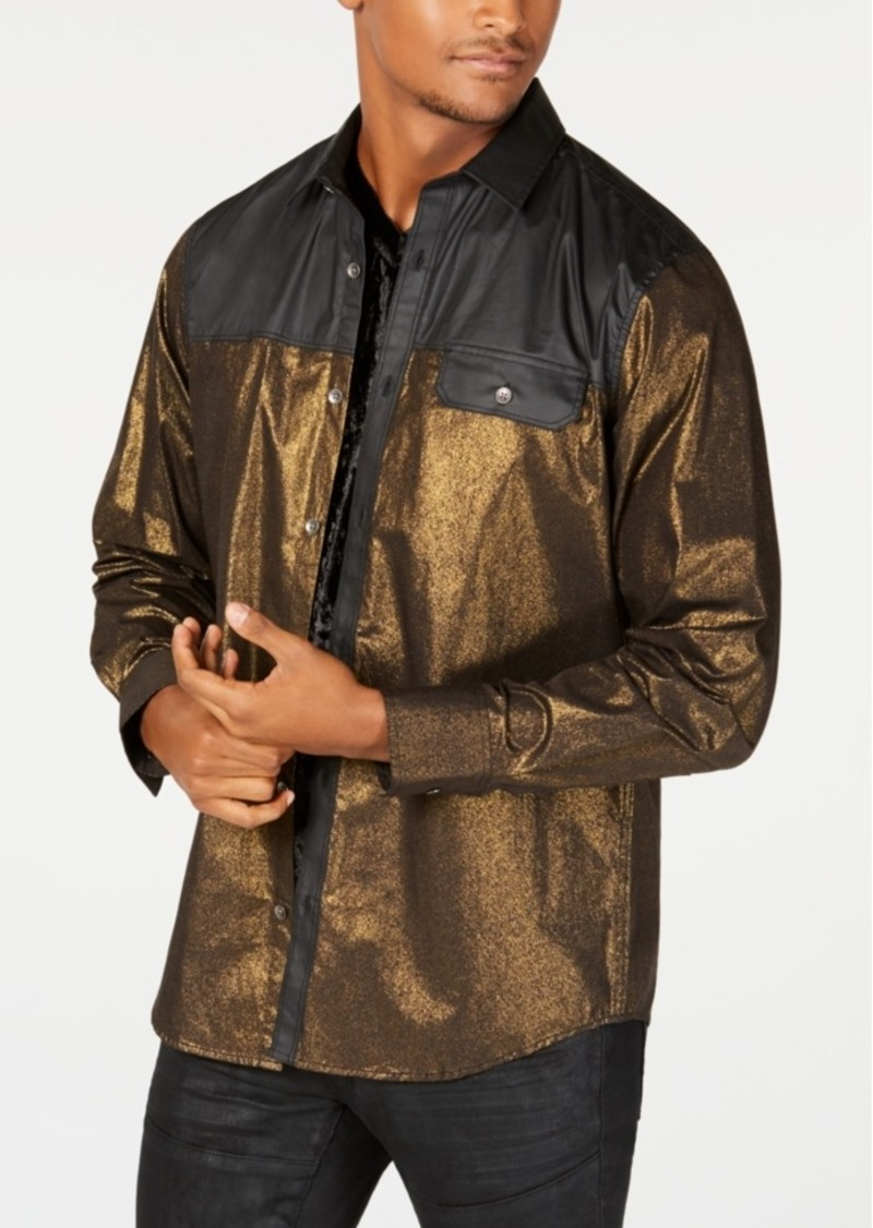 INC I.n.c. Men's Colorblocked Metallic Shirt, Created for Macy's