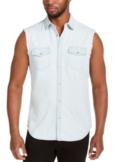 Inc Men's Cut Off Denim Shirt, Created for Macy's