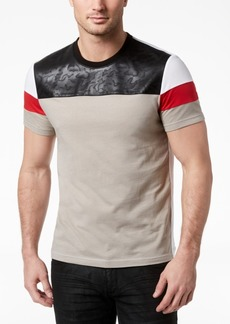 INC I.n.c. Men's Faux Leather Colorblocked T-Shirt, Created for Macy's