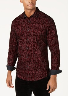 INC I.n.c. Men's Flocked Floral Shirt, Created for Macy's