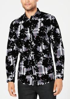 Inc Men's Flocked Plaid Shirt, Created for Macy's