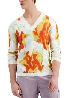 Inc International Concepts Men's Floral Patterned V-Neck Sweater, Created for Macy's