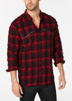 INC I.n.c. Men's Frayed Plaid Shirt, Created for Macy's