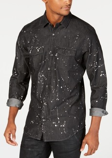 INC I.n.c. Men's Gray Denim Paint Splatter Shirt, Created for Macy's