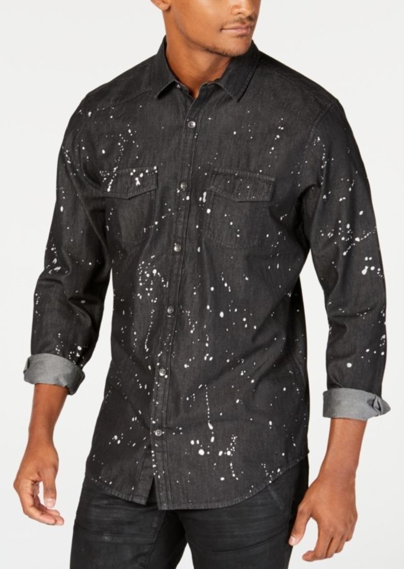 INC I.n.c. Men's Gray Denim Paint Splatter Shirt, Created for Macy's